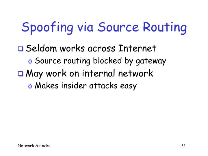 Spoofing via Source Routing
