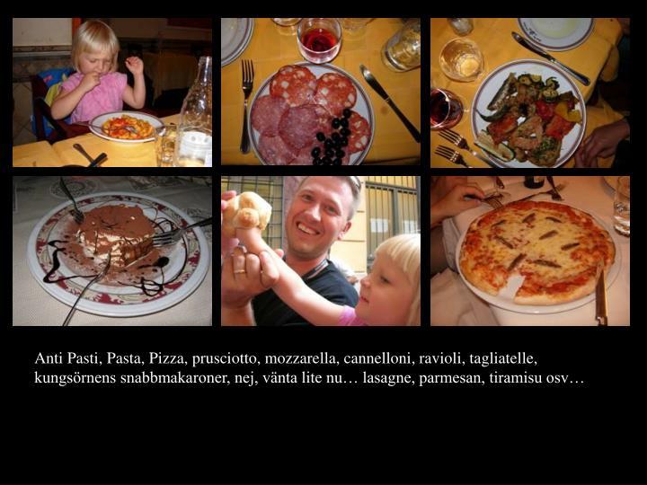 Anti Pasti, Pasta, Pizza, prusciotto, mozzarella, cannelloni, ravioli, tagliatelle, kungsrnens snabbmakaroner, nej, vnta lite nu lasagne, parmesan, tiramisu osv
