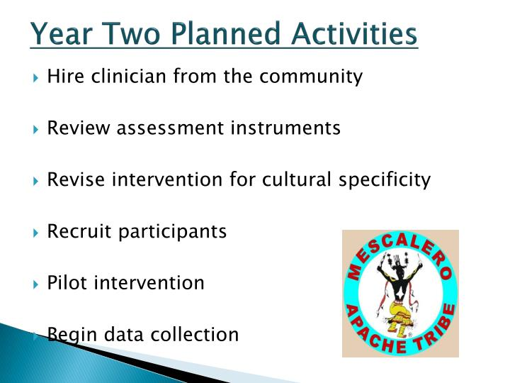 Year Two Planned Activities