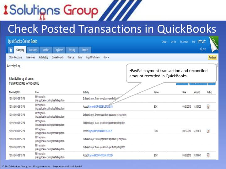 Check Posted Transactions in QuickBooks