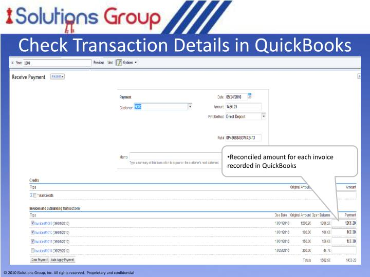 Check Transaction Details in QuickBooks