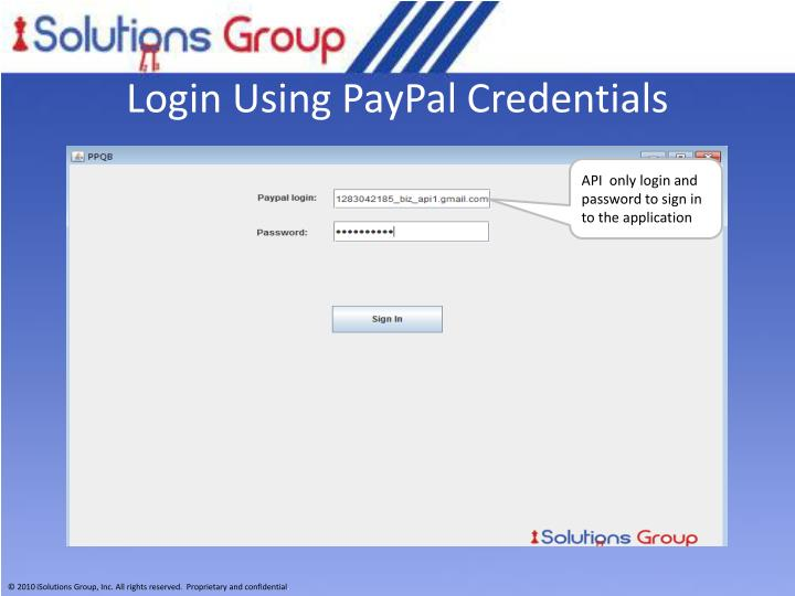 Login Using PayPal Credentials