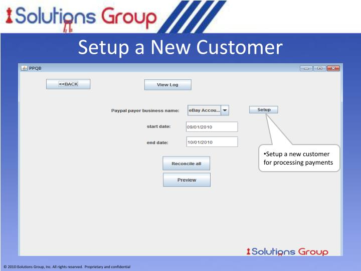 Setup a New Customer