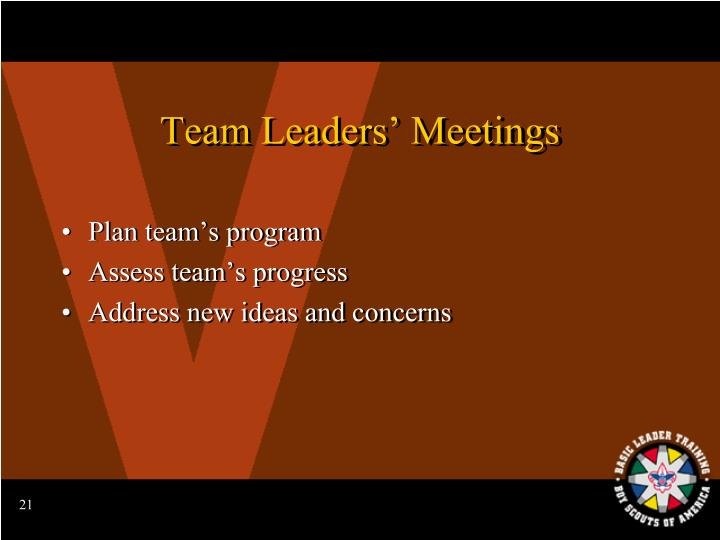 Team Leaders' Meetings