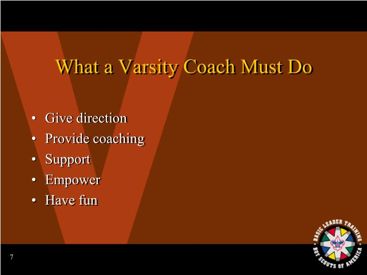 What a Varsity Coach Must Do