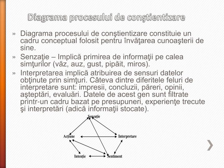 Diagrama procesului de conştientizare constituie un cadru conceptual folosit pentru învăţarea cunoaşterii de sine.