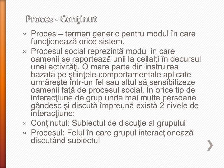 Proces – termen generic pentru modul în care funcţionează orice sistem.