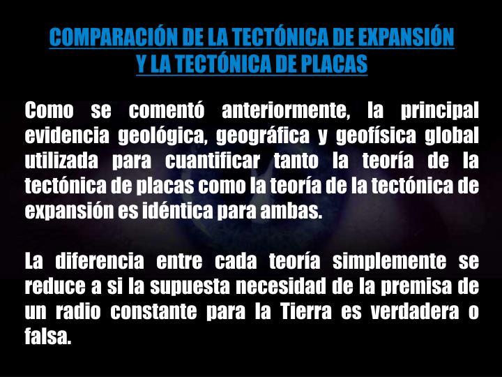 COMPARACIÓN DE LA TECTÓNICA DE EXPANSIÓN