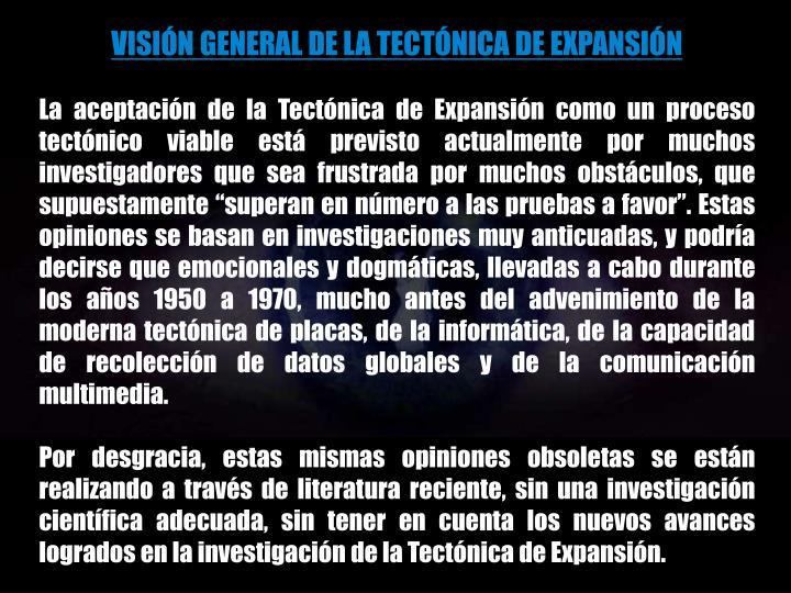 VISIÓN GENERAL DE LA TECTÓNICA DE EXPANSIÓN