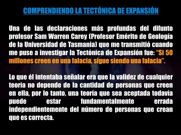 COMPRENDIENDO LA TECTÓNICA DE EXPANSIÓN
