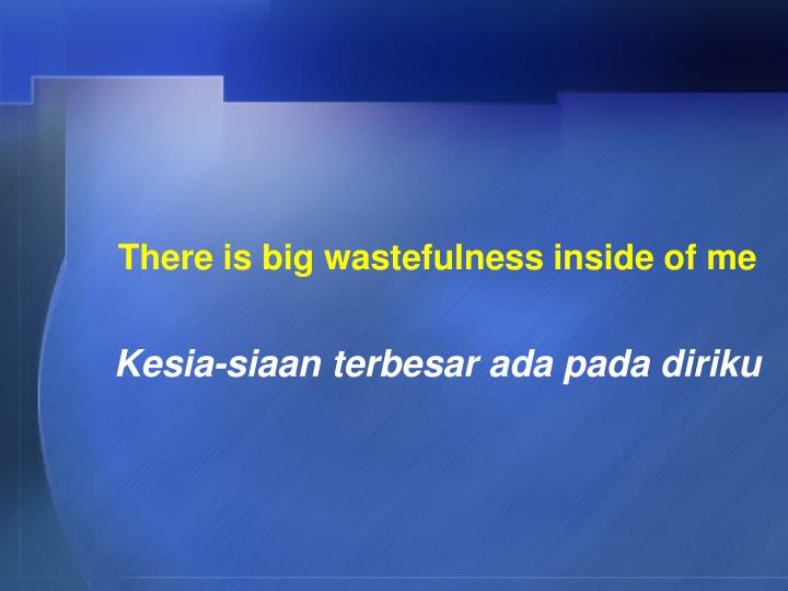 There is big wastefulness inside of me