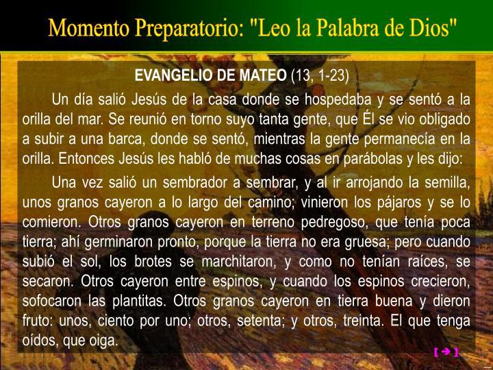 """Momento Preparatorio: """"Leo la Palabra de Dios"""""""