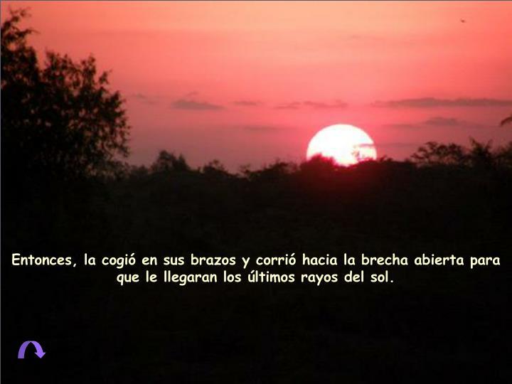 Entonces, la cogió en sus brazos y corrió hacia la brecha abierta para que le llegaran los últimos rayos del sol.