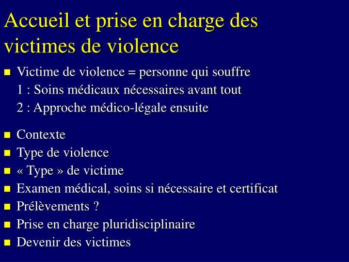 Accueil et prise en charge des victimes de violence