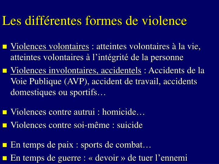 Les différentes formes de violence