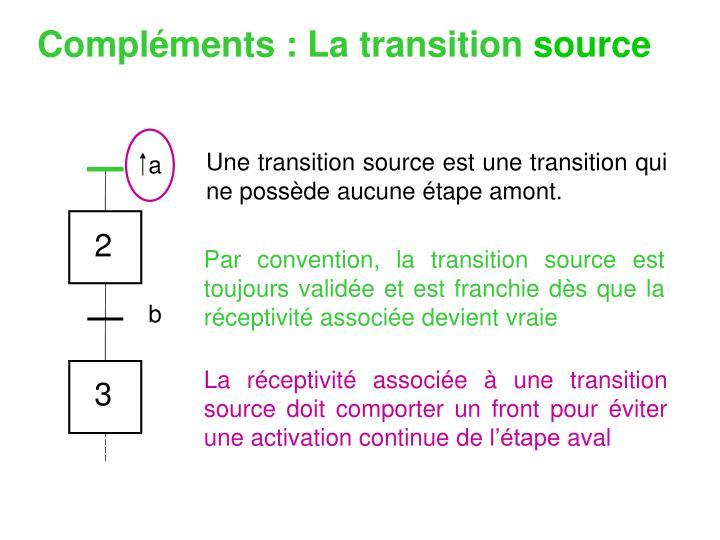 Par convention, la transition source est toujours validée et est franchie dès que la réceptivité associée devient vraie