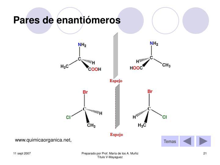 Pares de enantiómeros