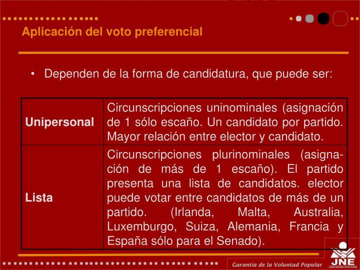 Aplicación del voto preferencial