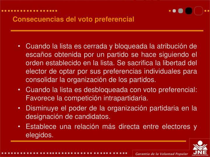 Consecuencias del voto preferencial