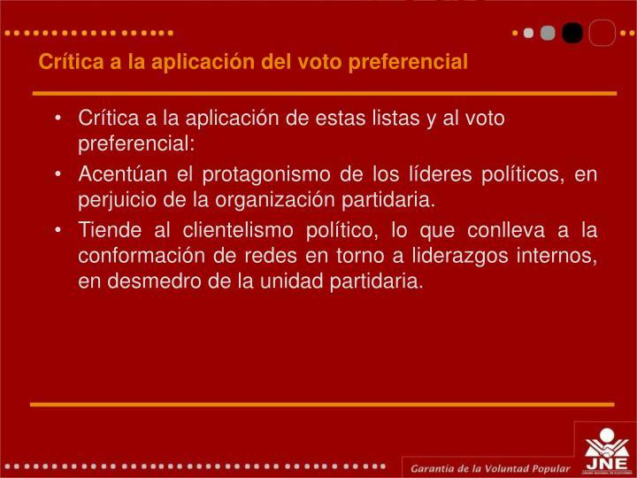 Crítica a la aplicación del voto preferencial