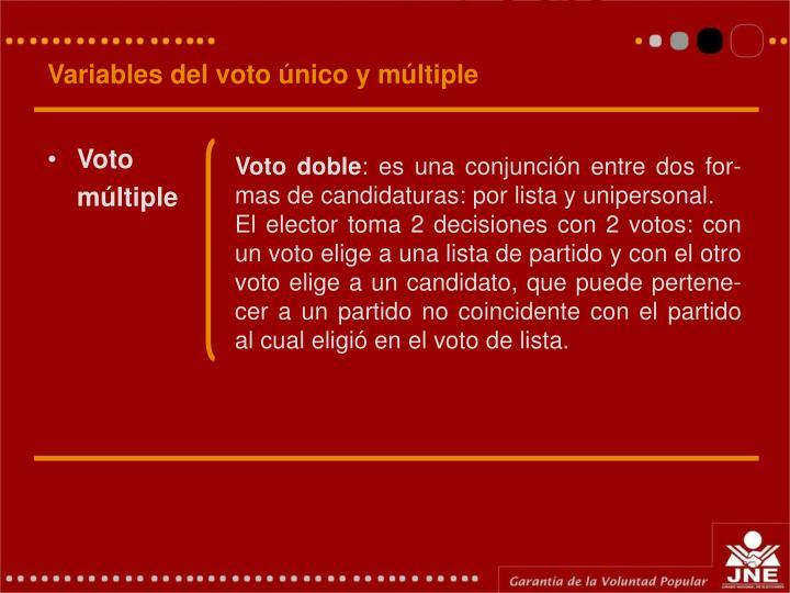 Variables del voto único y múltiple