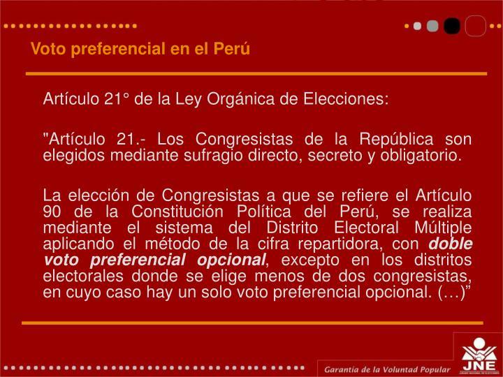 Voto preferencial en el Perú