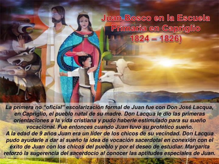 Juan Bosco en la Escuela Primaria en