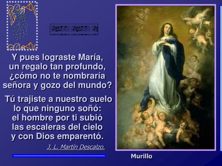 Y pues lograste María,          un regalo tan profundo, ¿cómo no te nombraría señora y gozo del mundo?