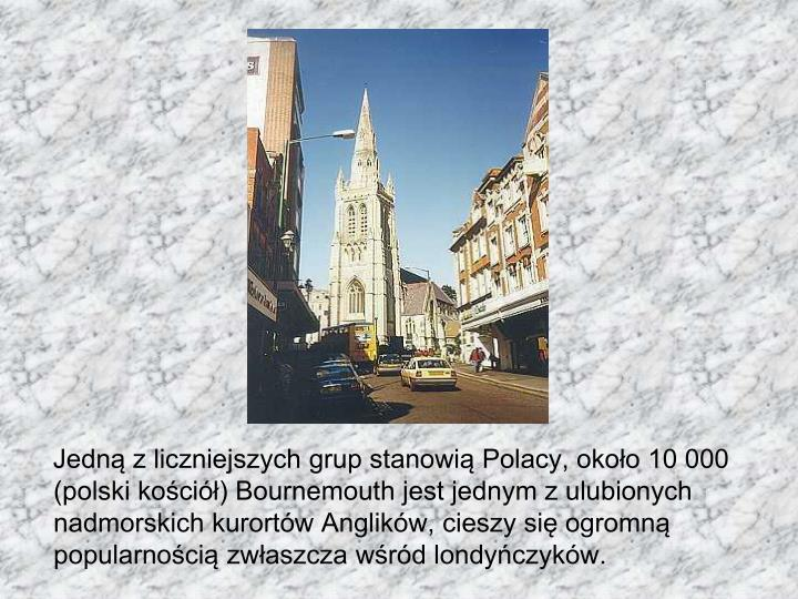 Jedną z liczniejszych grup stanowią Polacy, około 10 000 (polski kościół) Bournemouth jest jednym z ulubionych nadmorskich kurortów Anglików, cieszy się ogromną popularnością zwłaszcza wśród londyńczyków.
