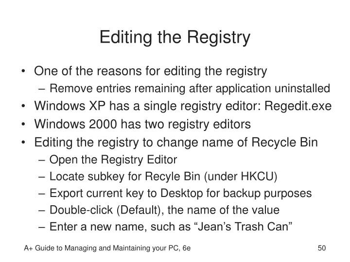 Editing the Registry