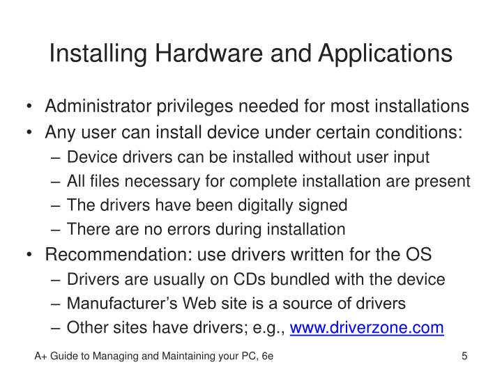 Installing Hardware and Applications
