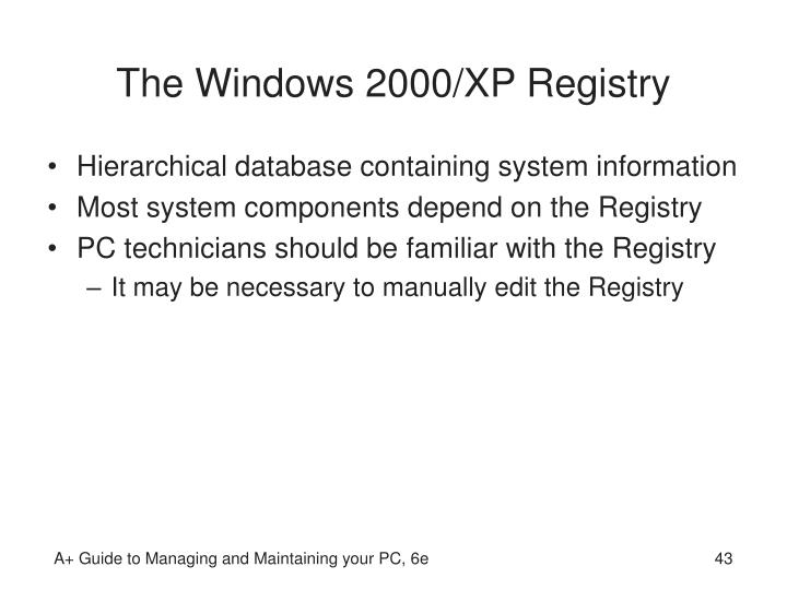 The Windows 2000/XP Registry
