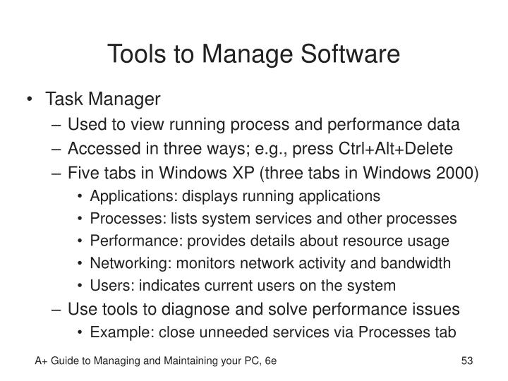 Tools to Manage Software