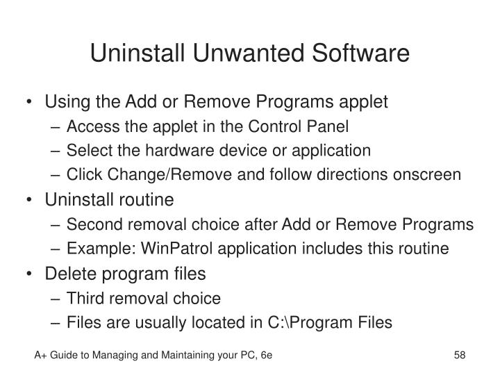 Uninstall Unwanted Software