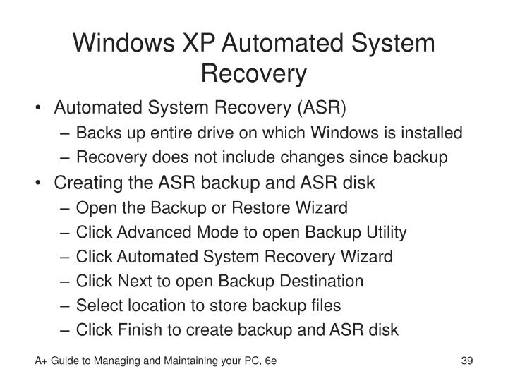 Windows XP Automated System Recovery