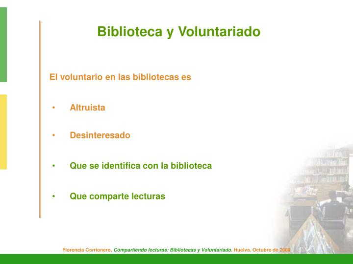 Biblioteca y Voluntariado