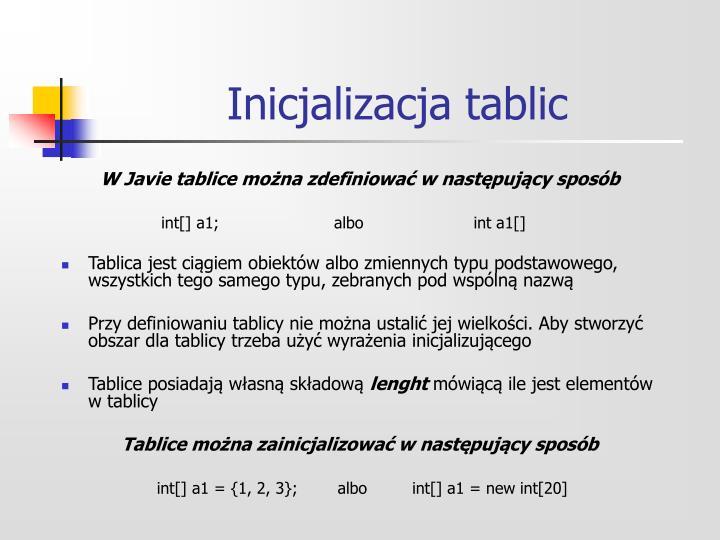 Inicjalizacja tablic