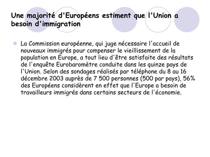 Une majorité d'Européens estiment que l'Union a besoin d'immigration