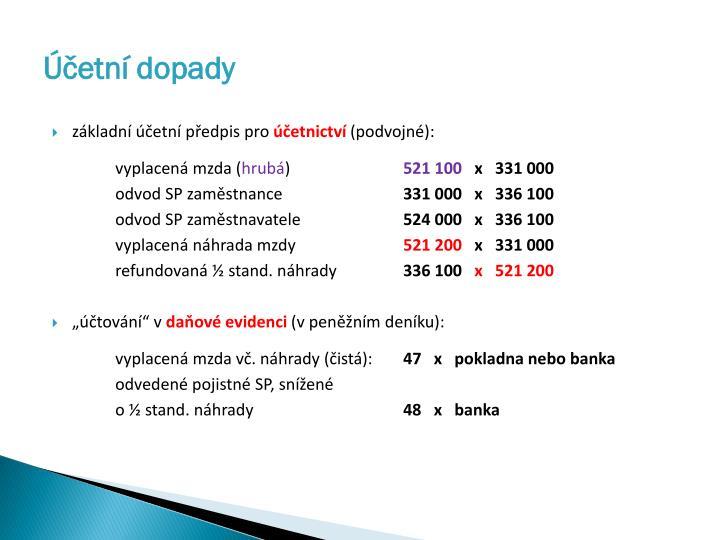 Účetní dopady