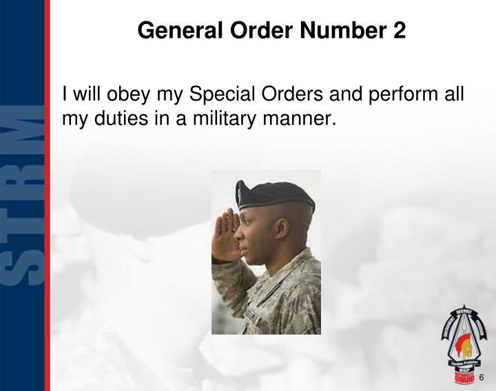 General Order Number 2