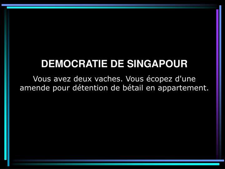 DEMOCRATIE DE SINGAPOUR