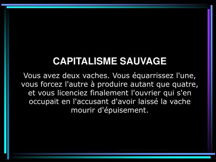 CAPITALISME SAUVAGE