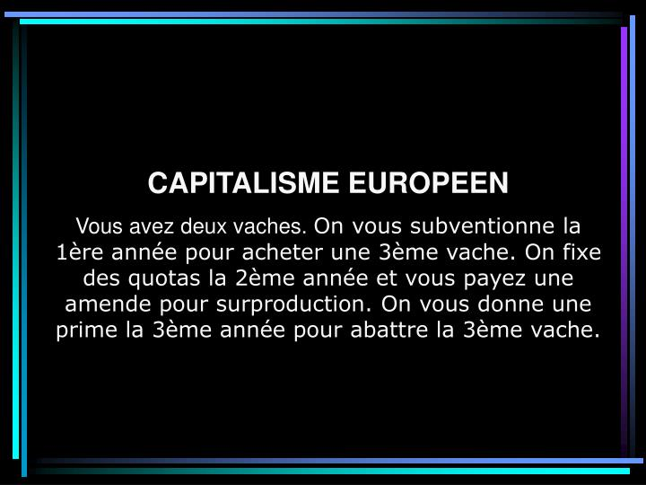 CAPITALISME EUROPEEN