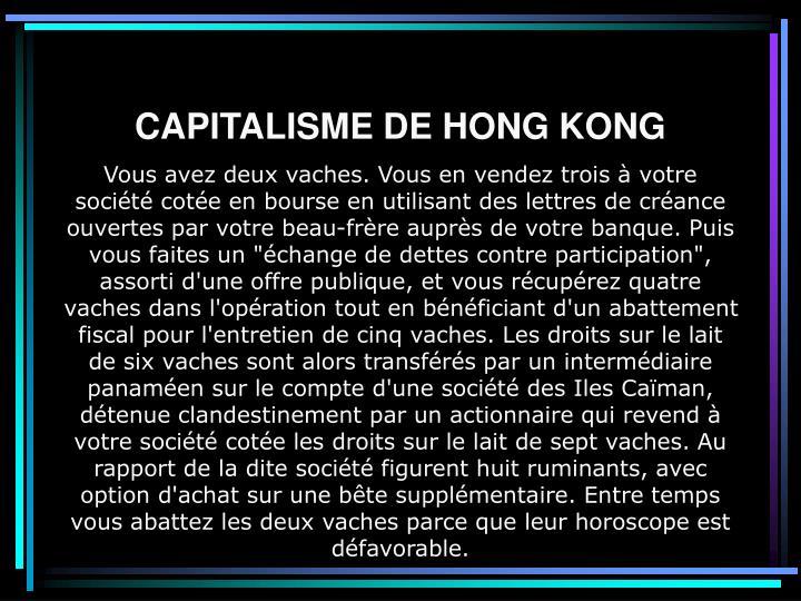 CAPITALISME DE HONG KONG