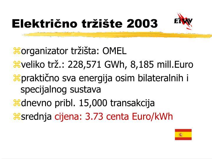 Električno tržište 2003
