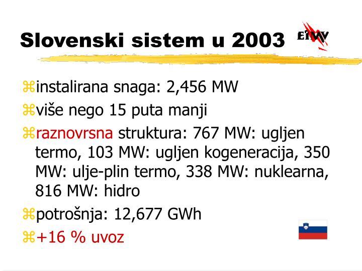 Slovenski sistem u 2003