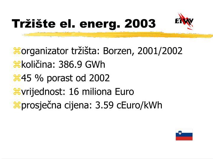 Tržište el. energ. 2003