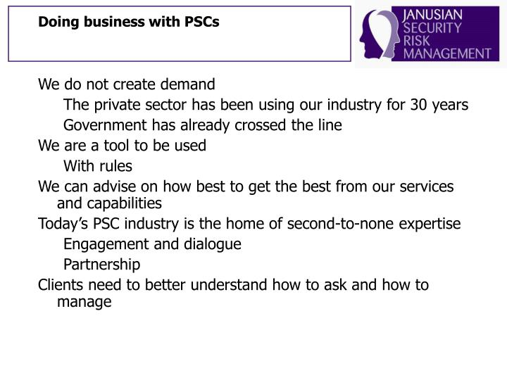 Doing business with PSCs