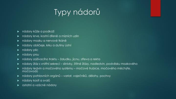 Typy nádorů