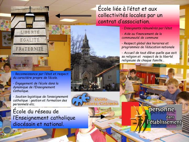 École liée à l'état et aux collectivités locales par un contrat d'association.